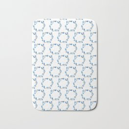Blue and Gray Watercolor Leaf Wreath Bath Mat