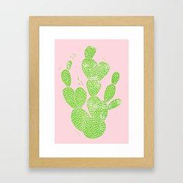 Linocut Cactus #1 Minty Pinky Framed Art Print