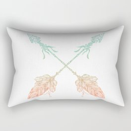 Arrows Turquoise Coral on White Rectangular Pillow