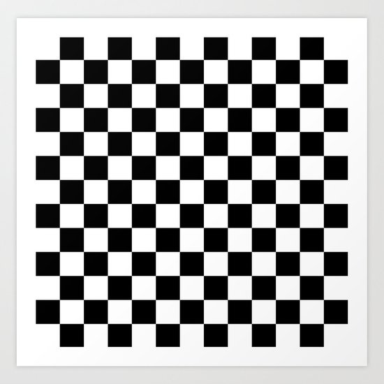 Race Flag Black And White Checkerboard Art Print By