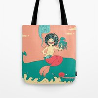bar Tote Bags featuring Sushi Bar by Skeeneart