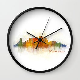 Phoenix Arizona, City Skyline Cityscape Hq v3 Wall Clock