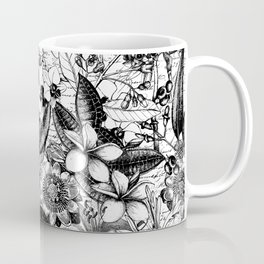 Black And White Tropical Flower Pattern Coffee Mug