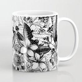 Black And White Tropical Flower Pattern Coffee Mug