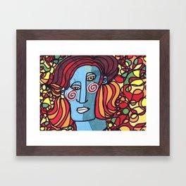 the blue woman Framed Art Print