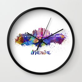 Manila V2 skyline in watercolor Wall Clock