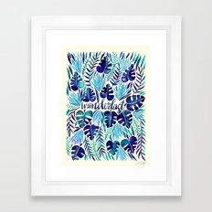 Tropical Wanderlust – Blue Framed Art Print