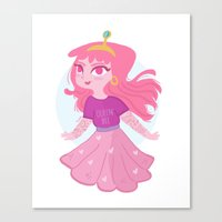 princess bubblegum Canvas Prints featuring Bubblegum by Pilotinta