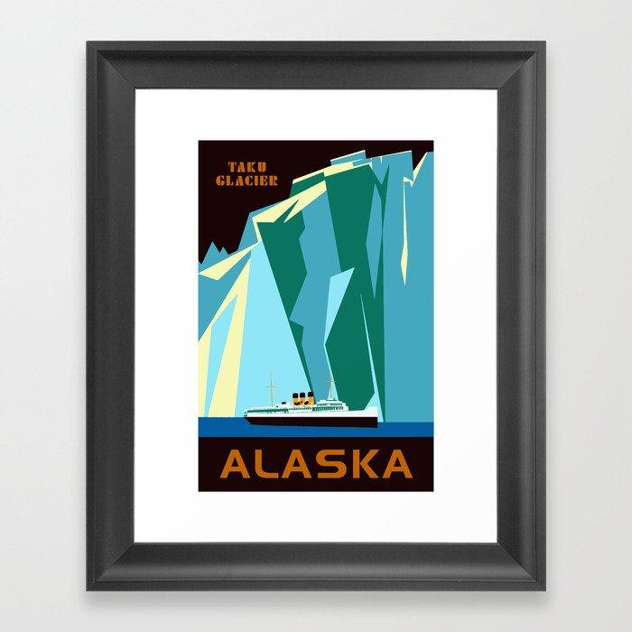 Alaska Taku Glacier retro vintage style travel Gerahmter Kunstdruck
