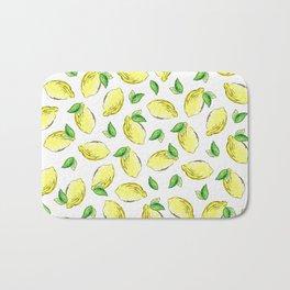 Lemon Watercolor Pattern Bath Mat