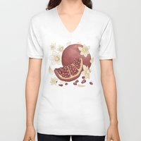 pomegranate V-neck T-shirts featuring Pomegranate  by Bailey Anne Watro