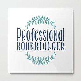 Professional Bookblogger - White w Blue Metal Print
