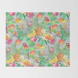 Tropical Paradise Fruit & Parrot Pattern Throw Blanket