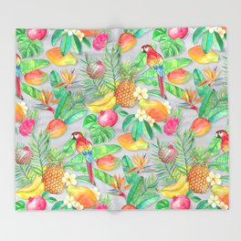 Tropical Paradise Fruit & Parrot Pattern Throw Blanket