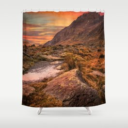 Tryfan Mountain Sunrise Shower Curtain