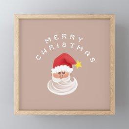 Merry Christmas & Santa - Beige Framed Mini Art Print