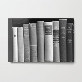Books - Black and White Metal Print