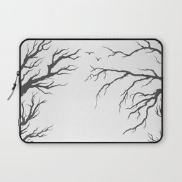 dried tree branches with birds and leaves on a light background Laptop Sleeve