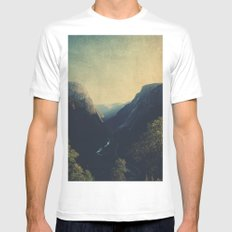mountains MEDIUM White Mens Fitted Tee