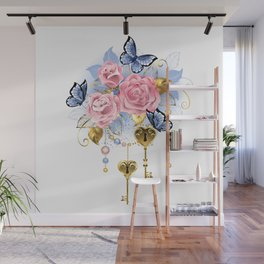 Pink Roses with Keys Wall Mural