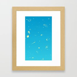 Outer Space Poster (Blue) Framed Art Print