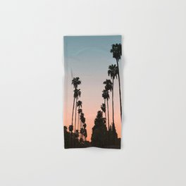 California Sunset // Palm Tree Silhouette Street View Orange and Blue Color Sky Beach Photography Hand & Bath Towel