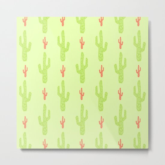 Green and red cactus pattern Metal Print