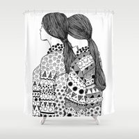 twins Shower Curtains featuring Twins by La Thai