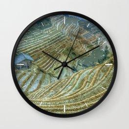 Rice Field Landscape Wall Clock