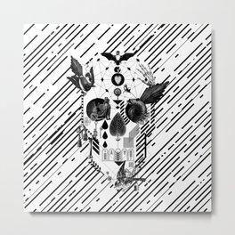 Abstract Skull B&W Metal Print