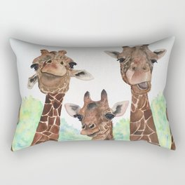 Giraffe's Family Portrait by Maureen Donovan Rectangular Pillow