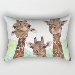 Giraffe's Family Portrait by Maureen Donovan Rectangular Pillow