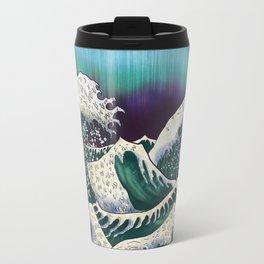 Northern Lights Ocean Waves Travel Mug