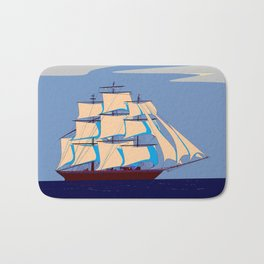 A Clipper Ship with Gray Skies, Sunset Bath Mat