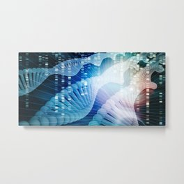 DNA Molecule Helix Science Abstract Background Art Metal Print