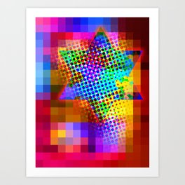 Modern Judaica- Saturated Star Art Print