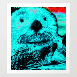 Sea Otter, mint green Art Print
