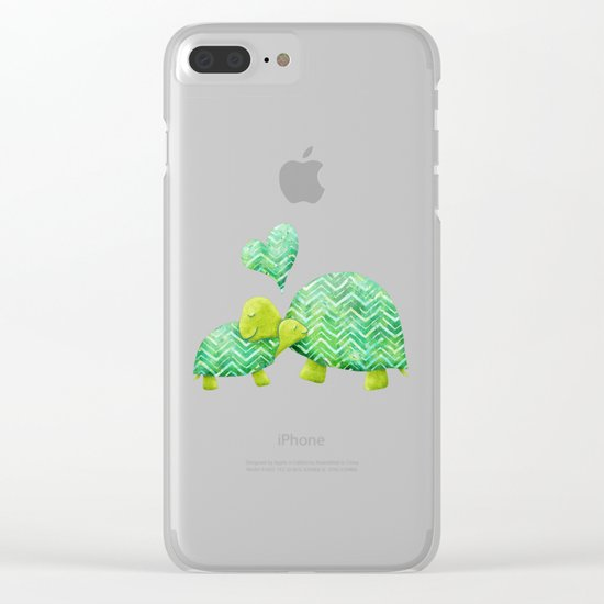 Sweet Turtle Hugs with Heart in Teal and Lime Green Clear iPhone Case