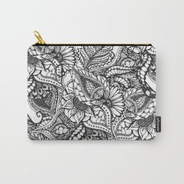 Modern black and white hand drawn floral pattern Carry-All Pouch