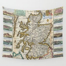 Vintage Map of Scotland (1747) Wall Tapestry