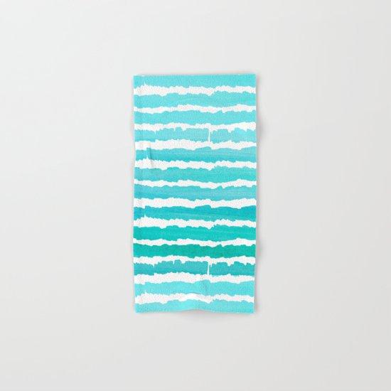 Maritime pattern- aqua handpainted stripes on clear white- horizontal Hand & Bath Towel