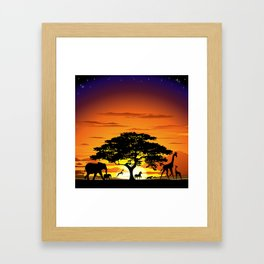 Wild Animals on African Savanna Sunset  Framed Art Print