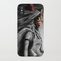 princess iPhone & iPod Cases featuring Miyazaki's Mononoke Hime Digital Painting the Wolf Princess Warrior Color Variation by Barrett Biggers