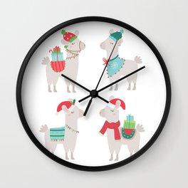 Christmas llamas Wall Clock