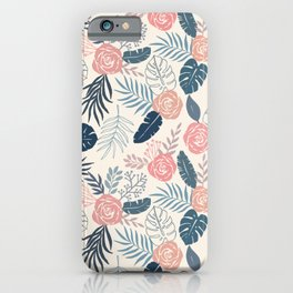 Blue and Blush Tropical Floral Pattern iPhone Case