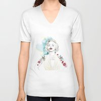 marylin monroe V-neck T-shirts featuring Marylin Monroe  by sarah rie