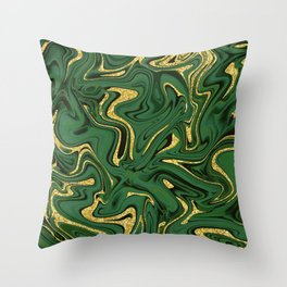 Luxury Marble Pattern in Emerald, Gold, Green and Copper Throw Pillow
