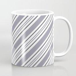 Pantone Lilac Gray and White Thick and Thin Angled Lines - Stripes Coffee Mug