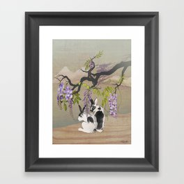 Two Rabbits Under Wisteria Tree Framed Art Print