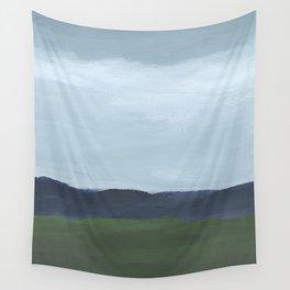 Rainy Blue Skies Navy Indigo Horizon Green Grass Abstract Nature Farmhouse Painting Art Print Wall Decor  Wall Tapestry